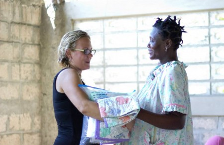 One of our expectant mothers receiving baby items.