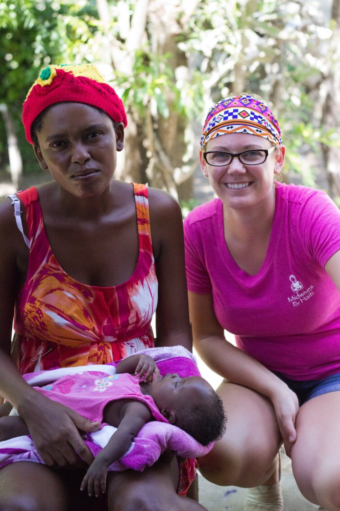 Pictured is Nurse Timay with her new baby girl and Ashley Stills, founder of Breath of Life Haiti.