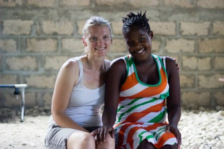 Nurse Kim pictured with one of our mothers in our program.