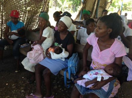 New moms carefully listening during the class lessons.
